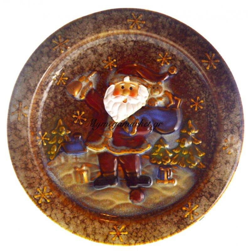 Πιατέλα χριστουγεννιάτικη με Αγ.Βασίλη απο πορσελάνη