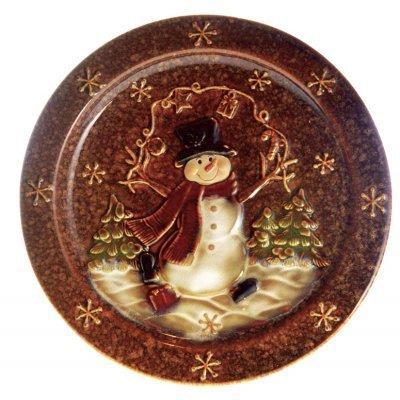Πιατέλα χριστουγεννιάτικη με χιονάνθρωπο απο πορσελάνη