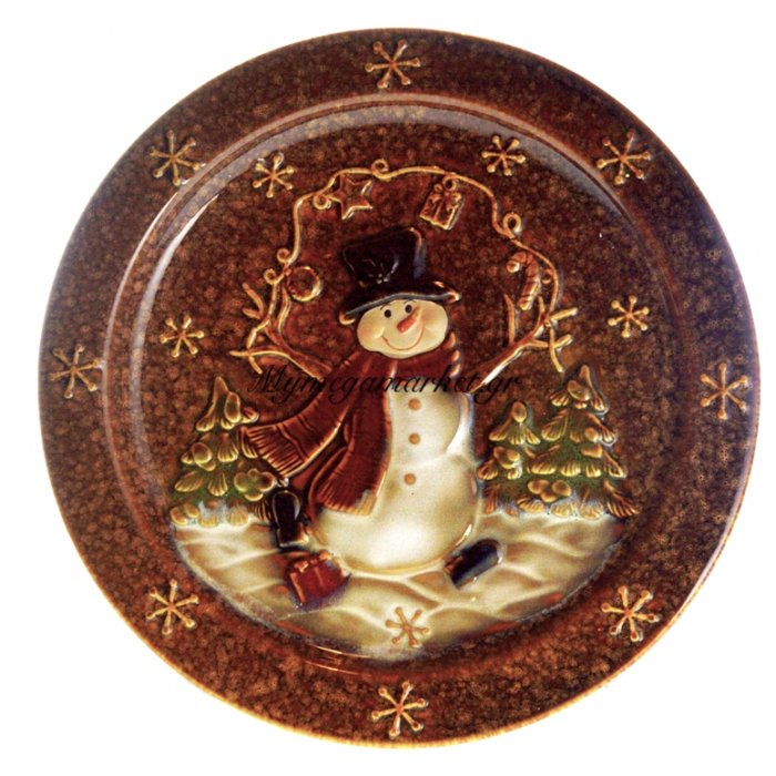 Πιατέλα χριστουγεννιάτικη με χιονάνθρωπο απο πορσελάνη | Mymegamarket.gr