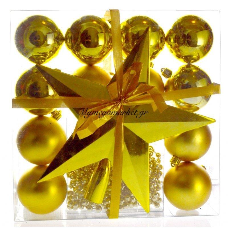 Σέτ 12 μπάλες κορυφή & πέρλα σε χρυσό χρώμα