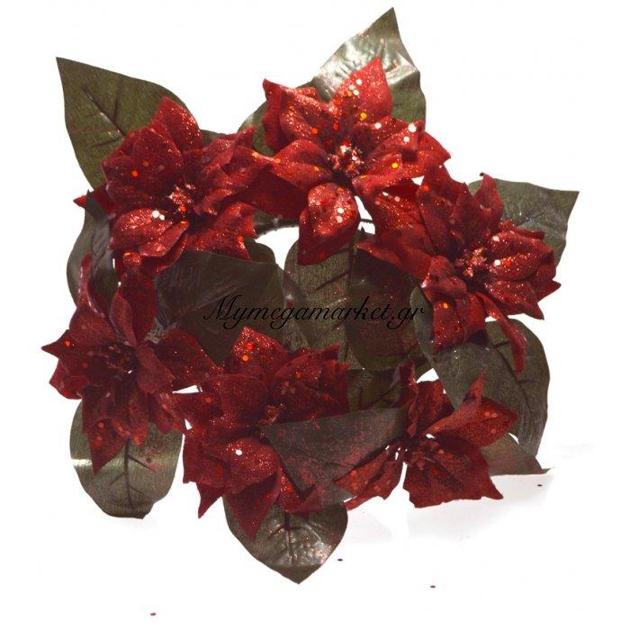 Στεφάνι Χριστουγεννιάτικο με Αλεξανδρινό λουλούδι 20 cm | Mymegamarket.gr