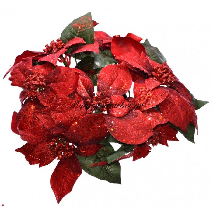 Στεφάνι χριστουγεννιάτικο με Αλεξανδρινό λουλούδι 25 cm | Mymegamarket.gr