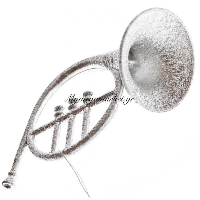 Στολίδι μουσικό όργανο κόρνο σε ασημί χρώμα | Mymegamarket.gr
