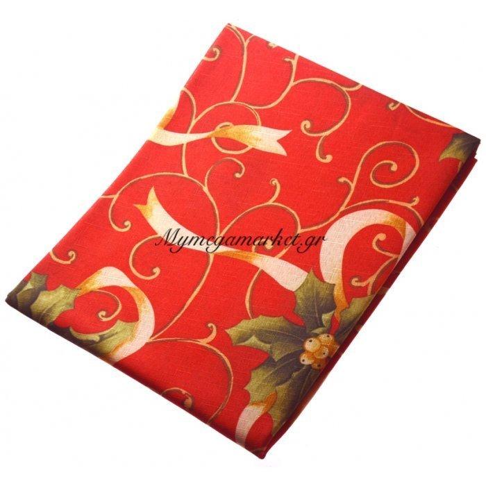 Τραπεζομάντηλο Χριστουγεννιάτικο αλέκιαστο κόκκινο με σχέδιο λουλούδια 150R | Mymegamarket.gr