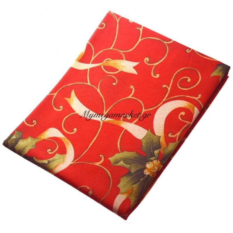 Τραπεζομάντηλο Χριστουγεννιάτικο αλέκιαστο κόκκινο με σχέδιο λουλούδια 150R