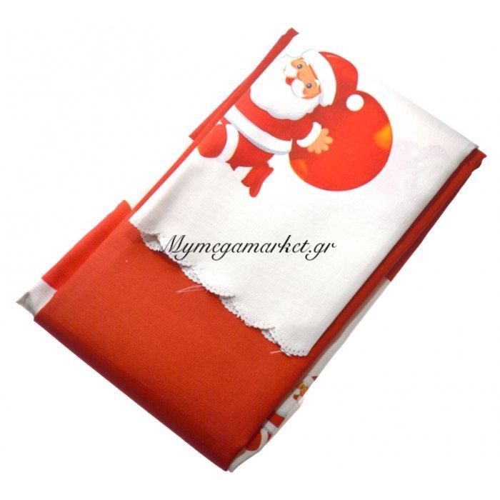 Τραπεζομάντηλο Χριστουγεννιάτικο αλέκιαστο κόκκινο σχέδιο Αγ.Βασίλη 140 x 140 cm | Mymegamarket.gr