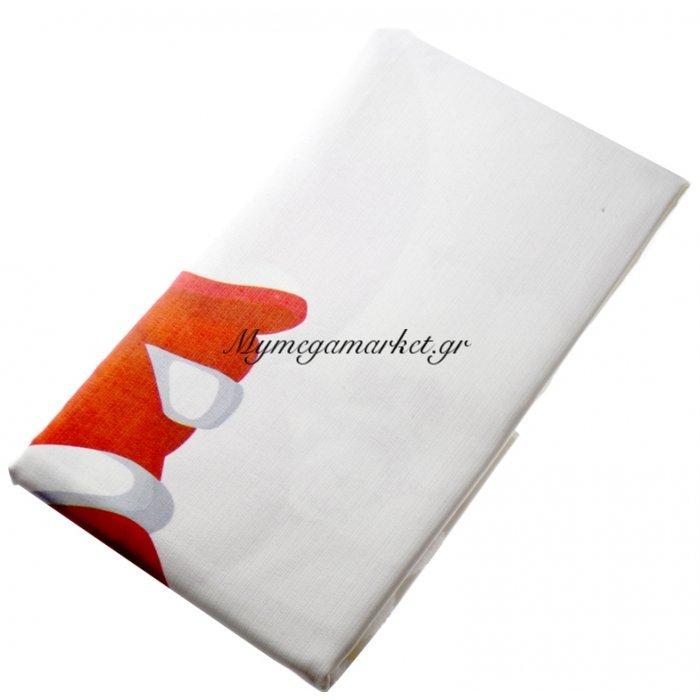 Τραπεζομάντηλο Χριστουγεννιάτικο αλέκιαστο λευκό σχέδιο Αγ.Βασίλη 140 x 140 cm | Mymegamarket.gr