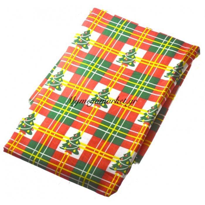 Τραπεζομάντηλο Χριστουγεννιάτικο αλέκιαστο σχέδιο δεντράκια 140 x 140 cm | Mymegamarket.gr