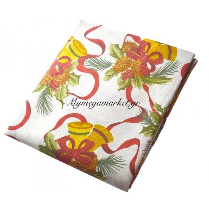 Τραπεζομάντηλο Χριστουγεννιάτικο αλέκιαστο σχέδιο καμπανάκια 150R | Mymegamarket.gr