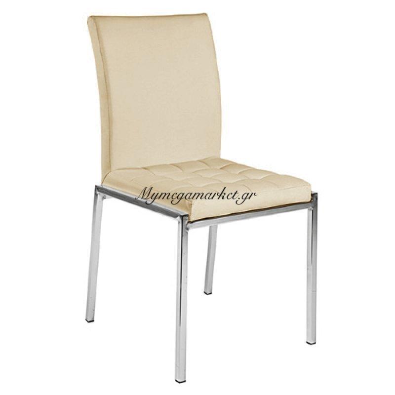 Καρέκλα τραπεζαρίας Erietta Εκρού τενχόδερμα ποιότητας Pu
