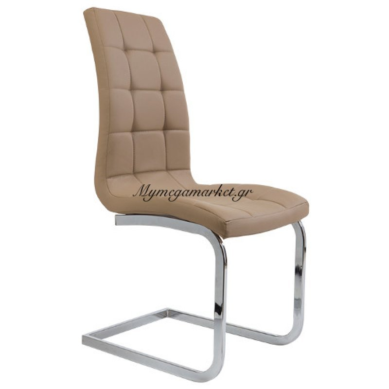 Καρέκλα τραπεζαρίας Semina Μόκα τενχόδερμα ποιότητας Pu