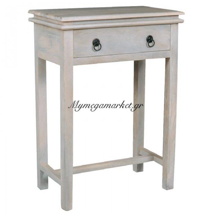 Έπιπλο εισόδου Maison Console ξύλινο με 1 συρτάρι σε χρώμα antique white 60x34x80 | Mymegamarket.gr
