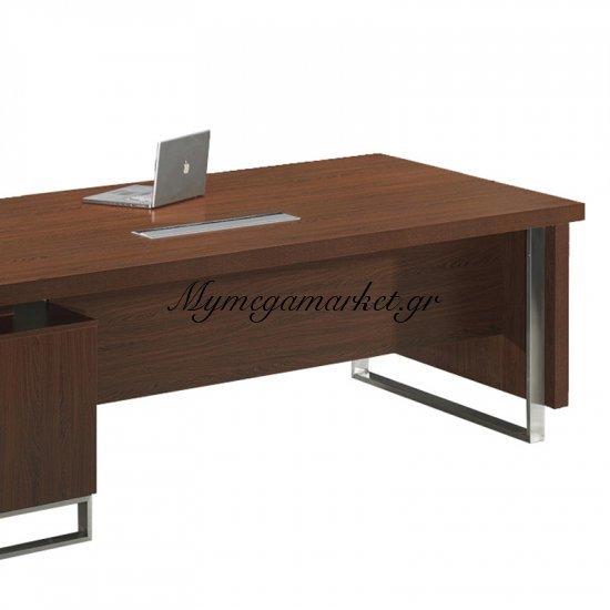 Alpine Γραφείο -Αρ- 240X100/200X62Cm Σκ.καρυδί Στην κατηγορία Γραφεία | Mymegamarket.gr