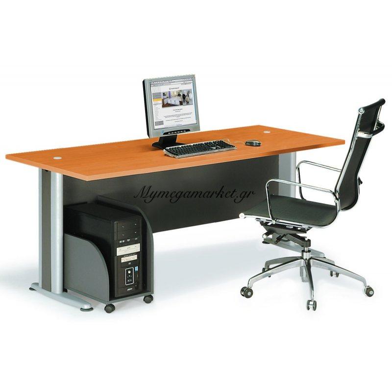 Γραφείο basic γκρί-κερασί χρώμα 180x80x75