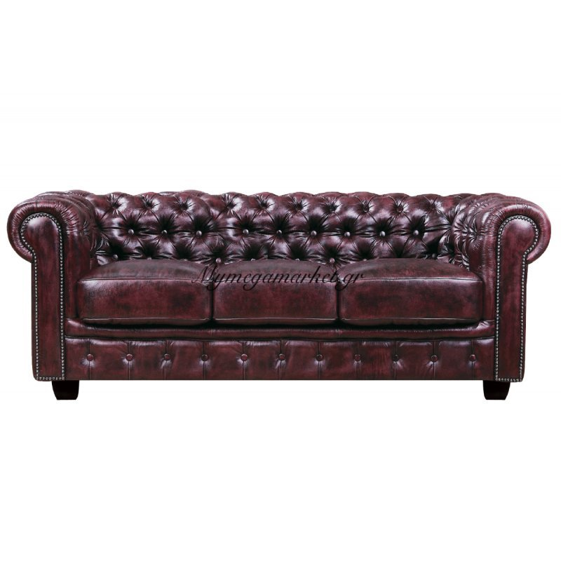 Chesterfield 689 3Θεσ.δέρμα Antique Red 201X92X72Cm