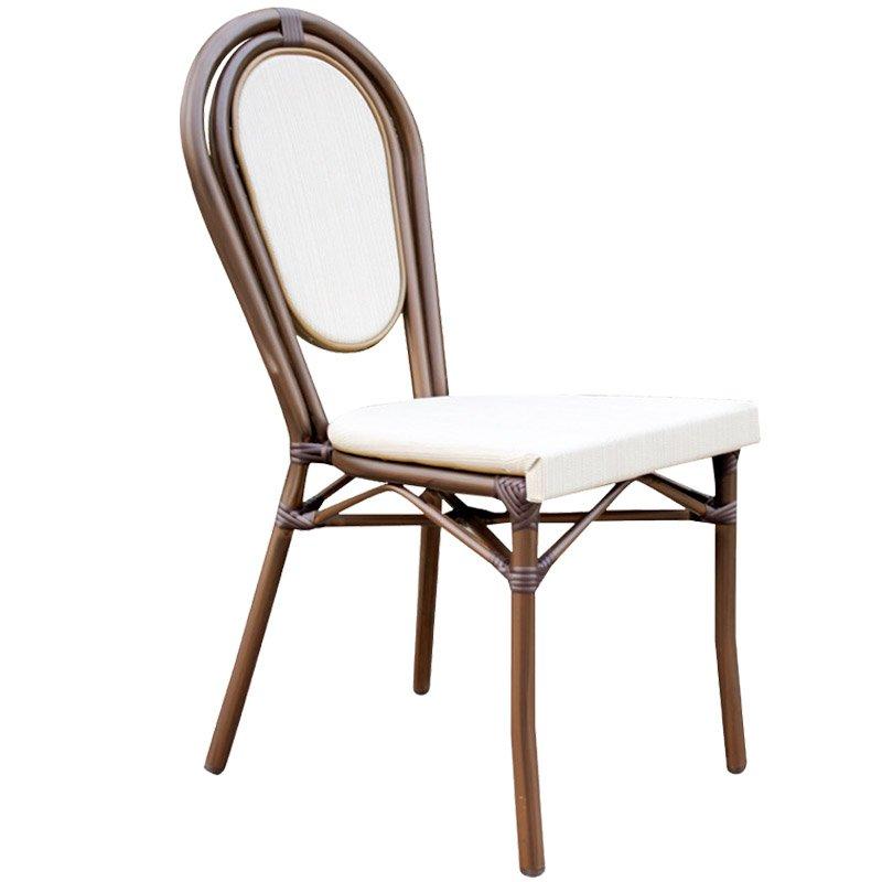 Monaco Καρέκλα Alu Καφέ/textilene Εκρού