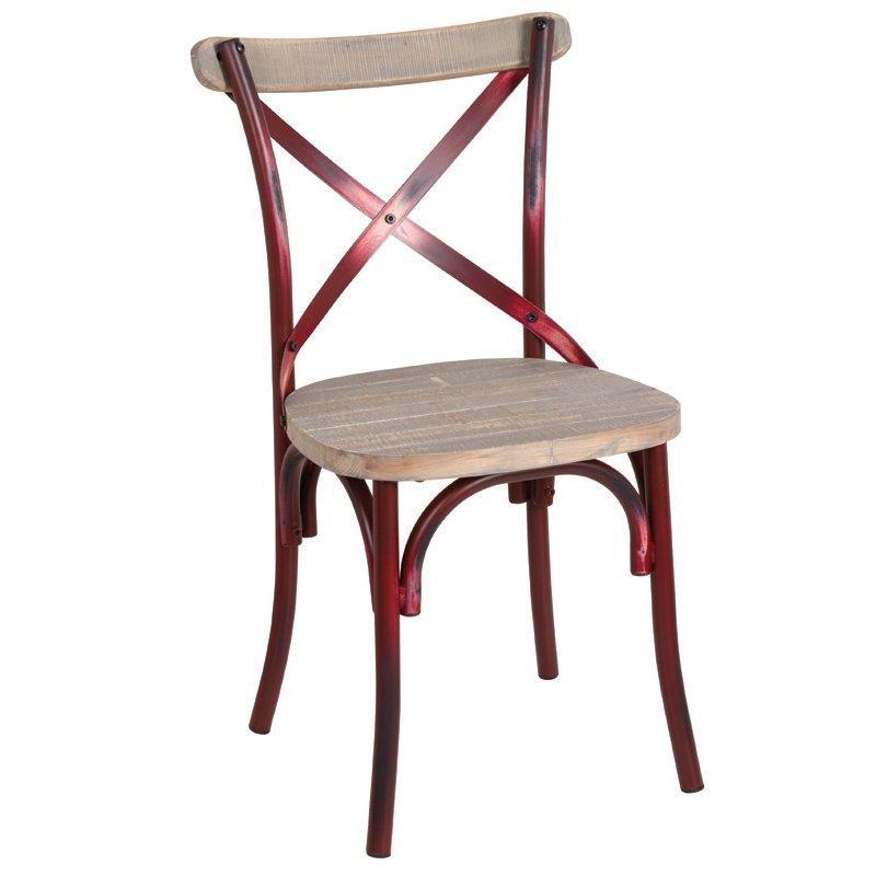 Destiny Wood Καρέκλα Μεταλ.antique Red