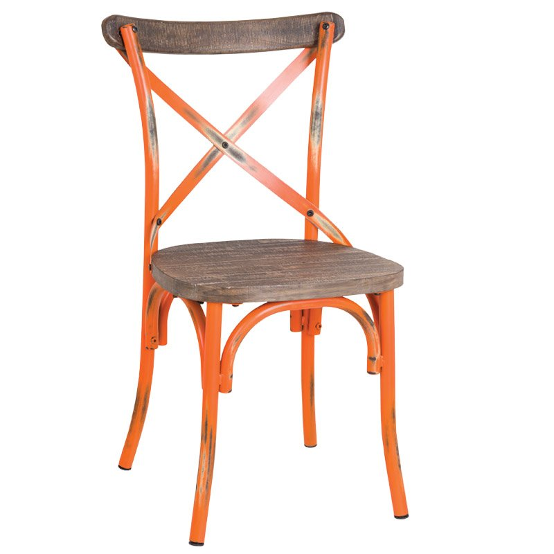 Destiny Wood Καρέκλα Μεταλ.antique Orange