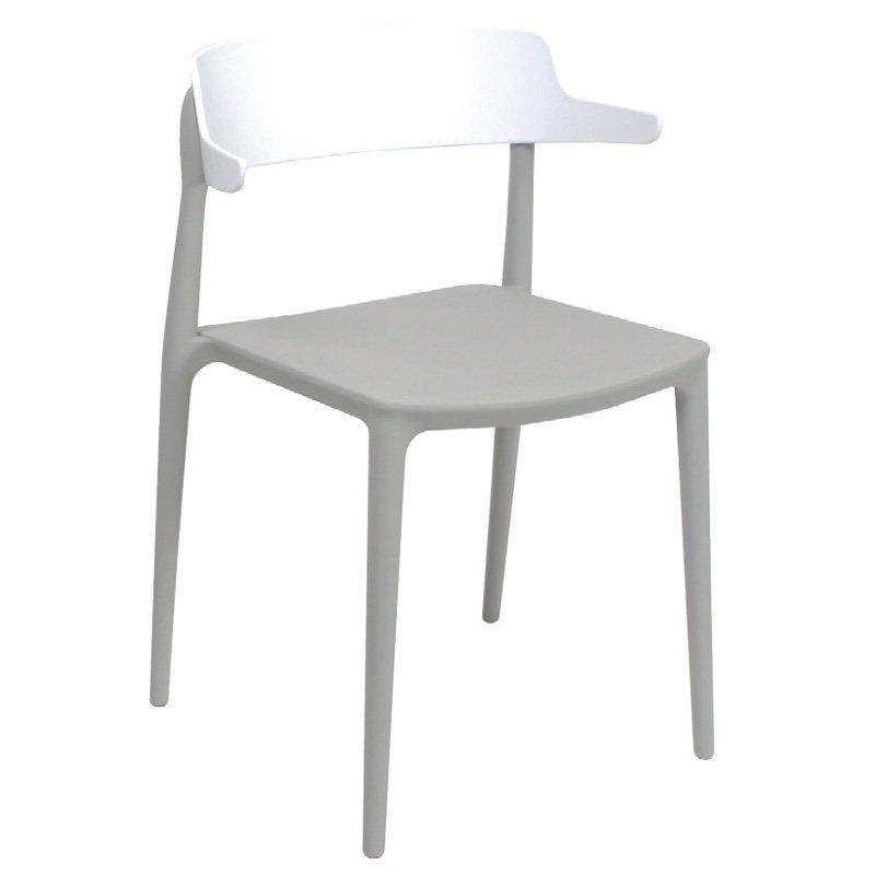 Nadia Καρέκλα Pp Γκρι/πλάτη Λευκή