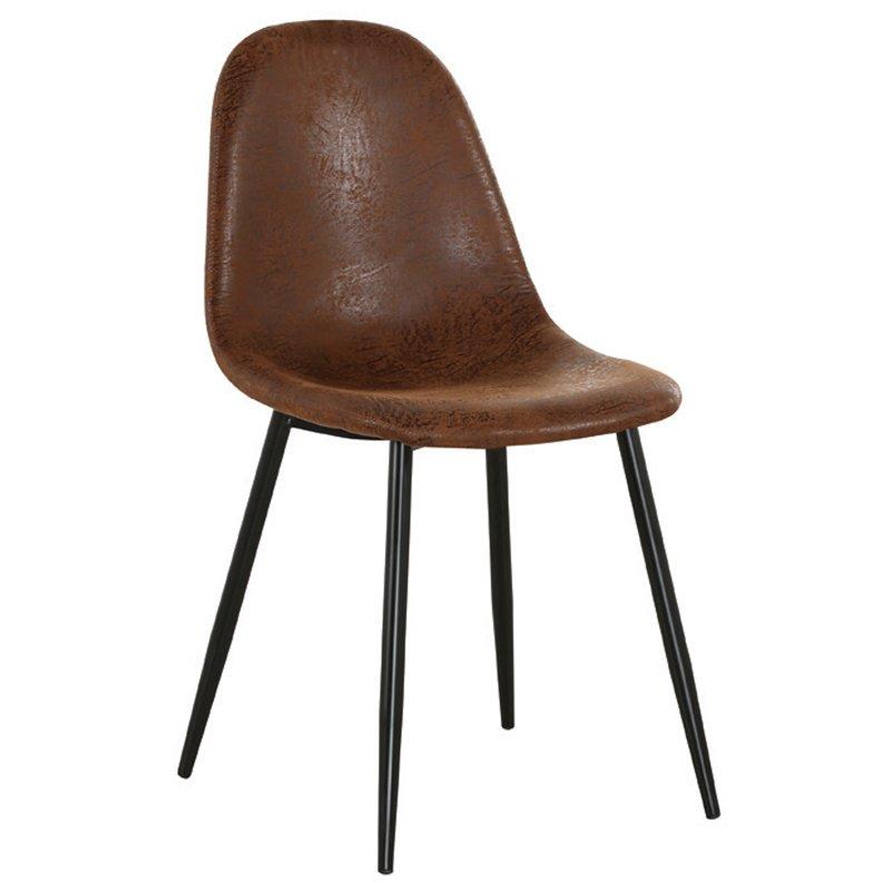 Καρέκλα μεταλλική Celina χρώμα μαύρο με ύφασμα suede σε χρώμα καφέ