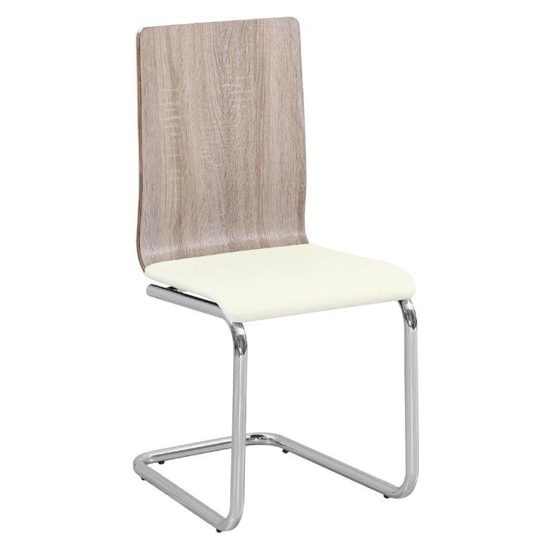 Καρέκλα μεταλλική χρωμίου Lord απόχρωση σημύδας με PU κάθισμα εκρού