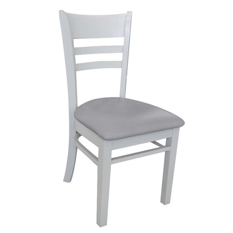 Καρέκλα ξύλινη Cabin λευκή με PVC κάθισμα γκρι