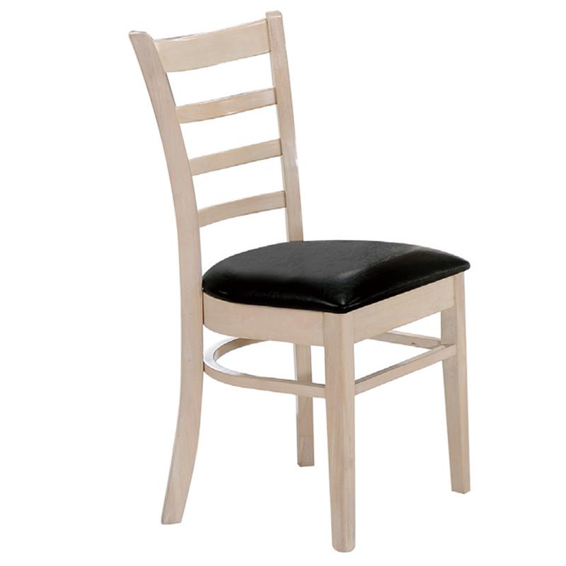 Καρέκλα ξύλινη Naturale-L white wash με PU κάθισμα μαύρο