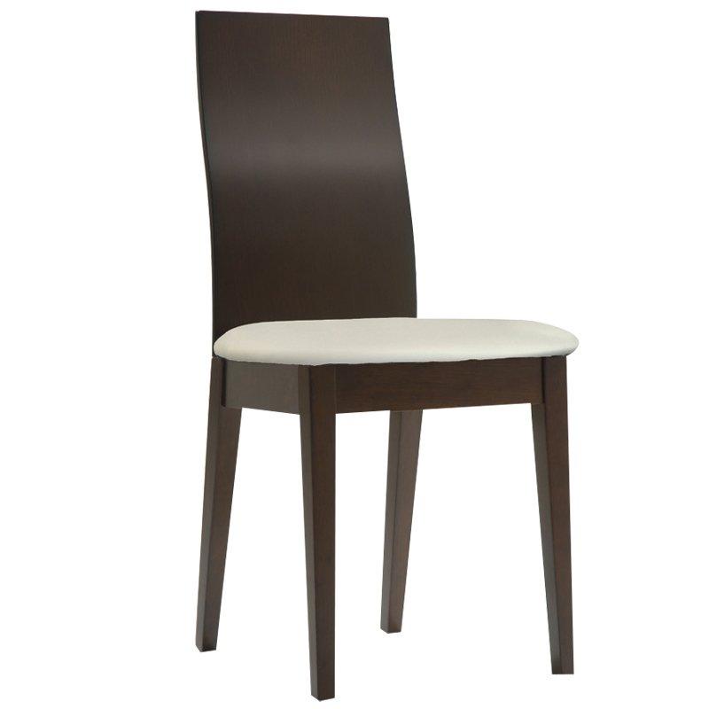 Savina Καρέκλα Οξυά Σκ.καρυδί/pvc Εκρού