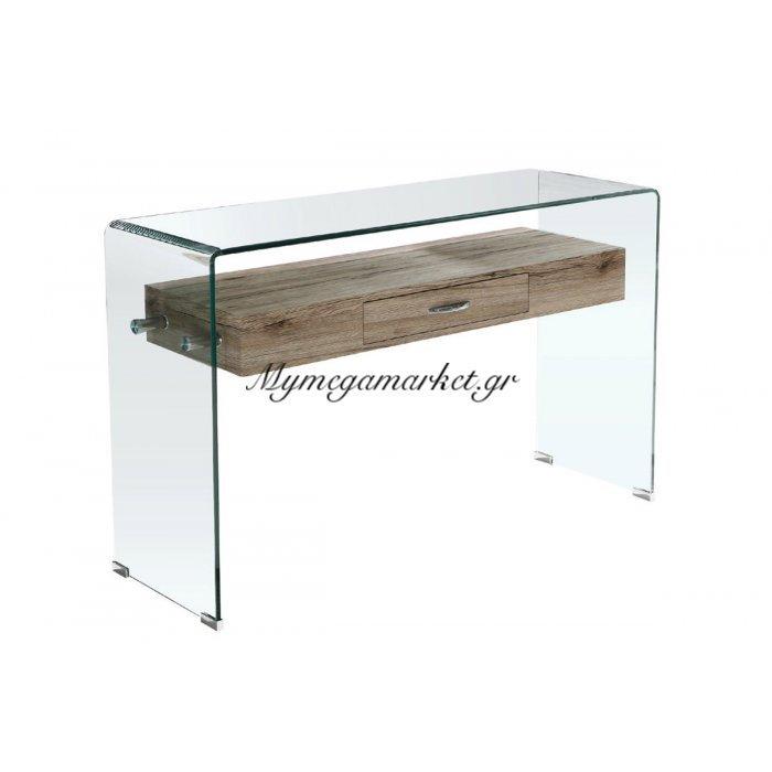 Glasser Wood Κονσόλα Με Ράφι Clear Γυαλί 12Mm 120X40X75Cm | Mymegamarket.gr