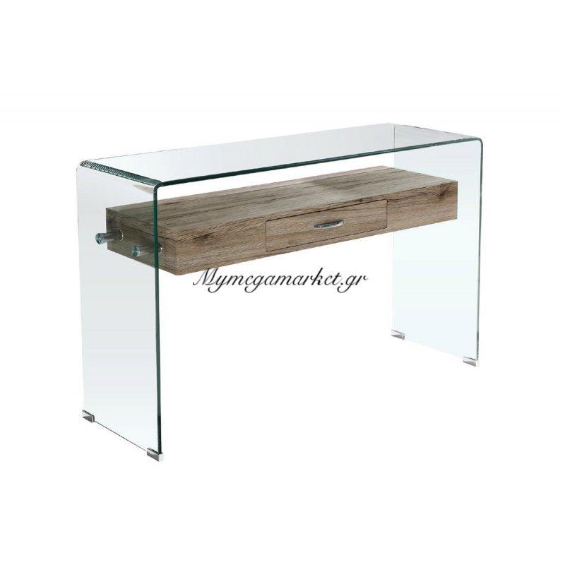 Glasser Wood Κονσόλα Με Ράφι Clear Γυαλί 12Mm 120X40X75Cm Στην κατηγορία Κονσόλες - Τουαλέτες   Mymegamarket.gr