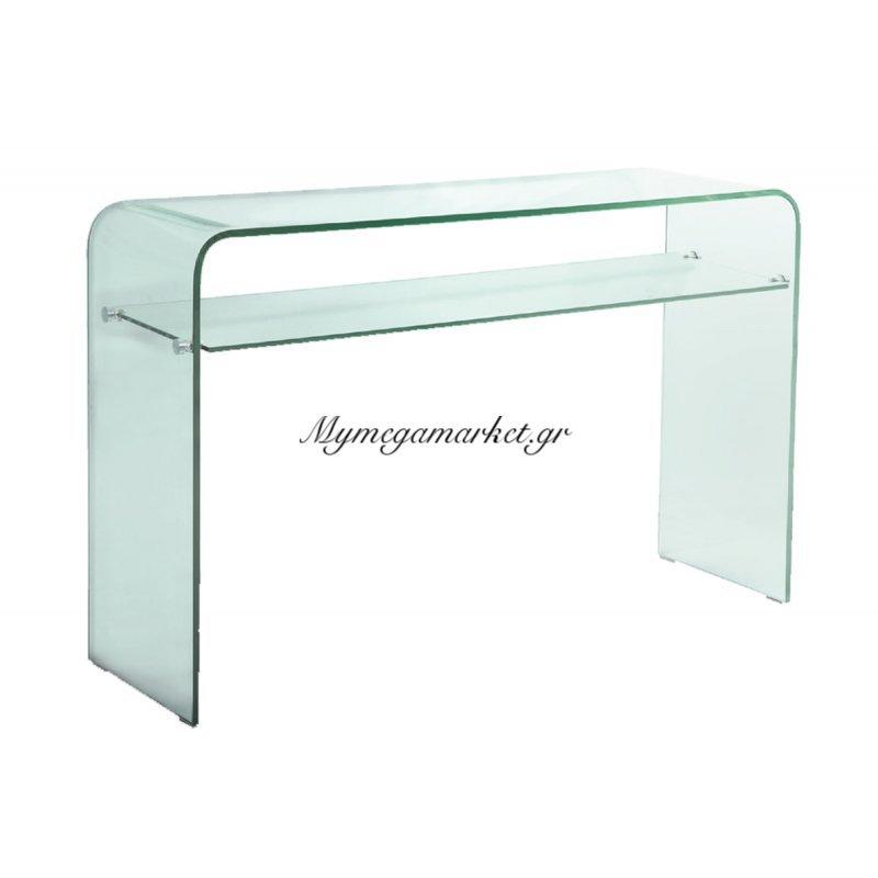 Κονσόλα γυάλινη με ραφί Glasser Clear 12mm tempered 110x35x75