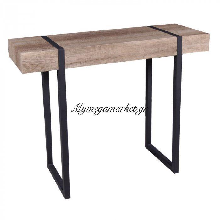 Κονσόλα Tablot μεταλλική βάση μαύρη-ξύλινη σε απόχρωση καρυδί δρύς 100x35x80   Mymegamarket.gr