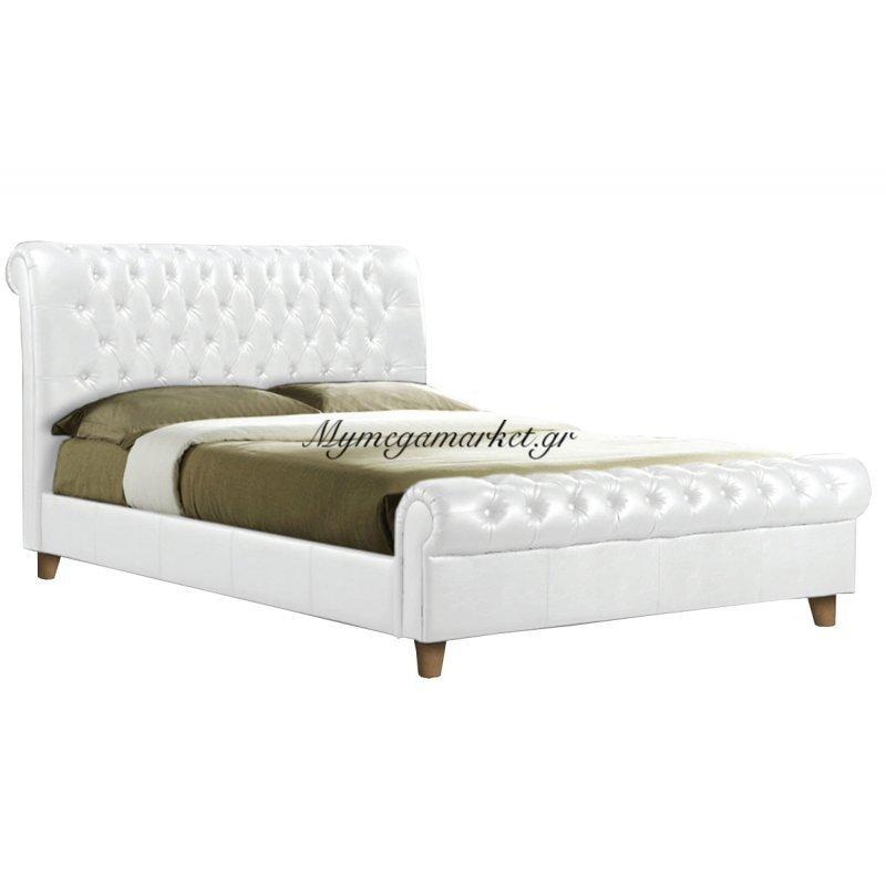 Harmony Κρεβάτι 160X200Cm Pu Άσπρο Στην κατηγορία Κρεβάτια ξύλινα - Μεταλλικά | Mymegamarket.gr