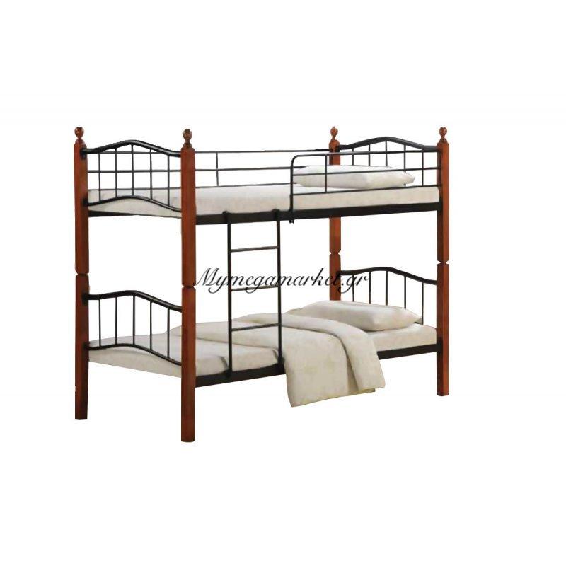 Button Kρεβάτι/κουκέτα 90X200Cm Mεταλ.μαύρο/ξύλο Καρυδί Στην κατηγορία Κουκέτες | Mymegamarket.gr