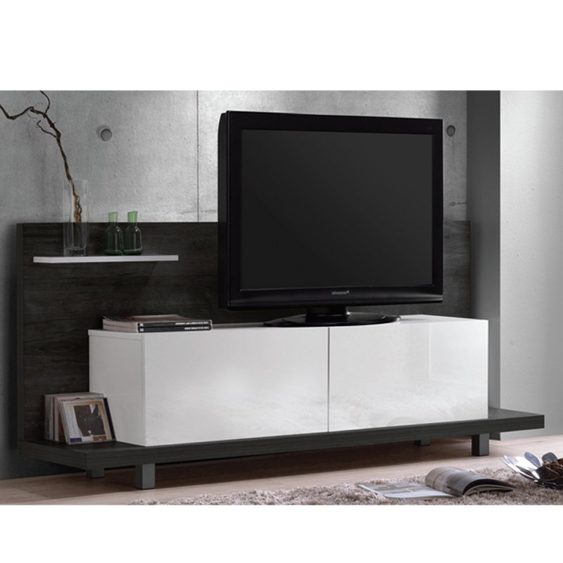 Panel TV Life απόχρωση μαύρο δρυς-λευκό 160x40x72 εκ