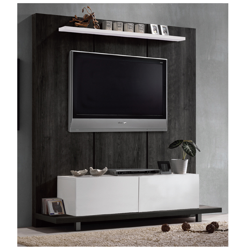 Panel TV wall Life μαύρο δρυς-λευκό 160x46x175 by Mymegamarket.gr