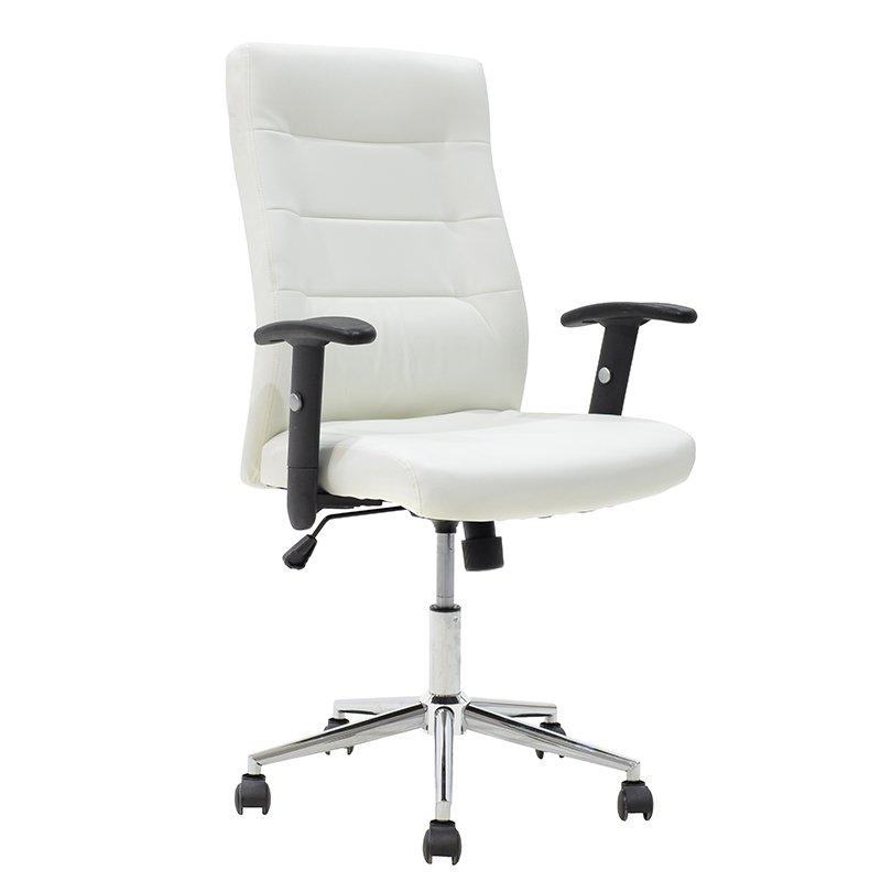 Πολυθρόνα γραφείου Eliot με μεταλλικό σκελετό και επένδυση τεχνόδερμα PU σε χρώμα λευκό