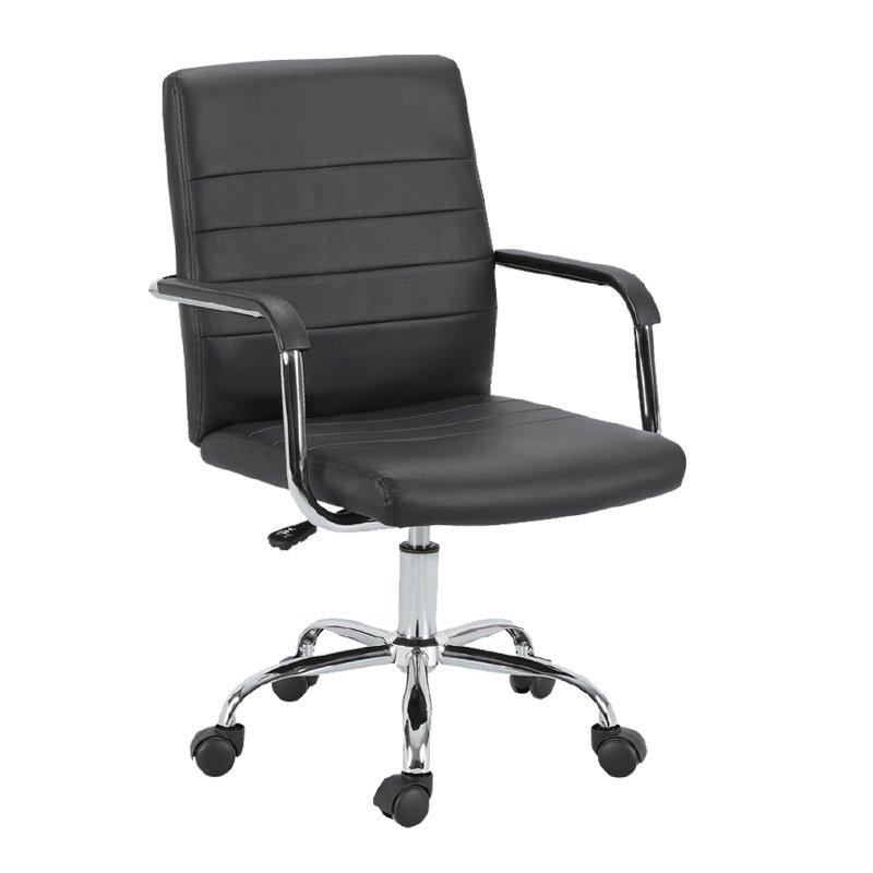Πολυθρόνα γραφείου εργασίας μαύρη PVC BF3401