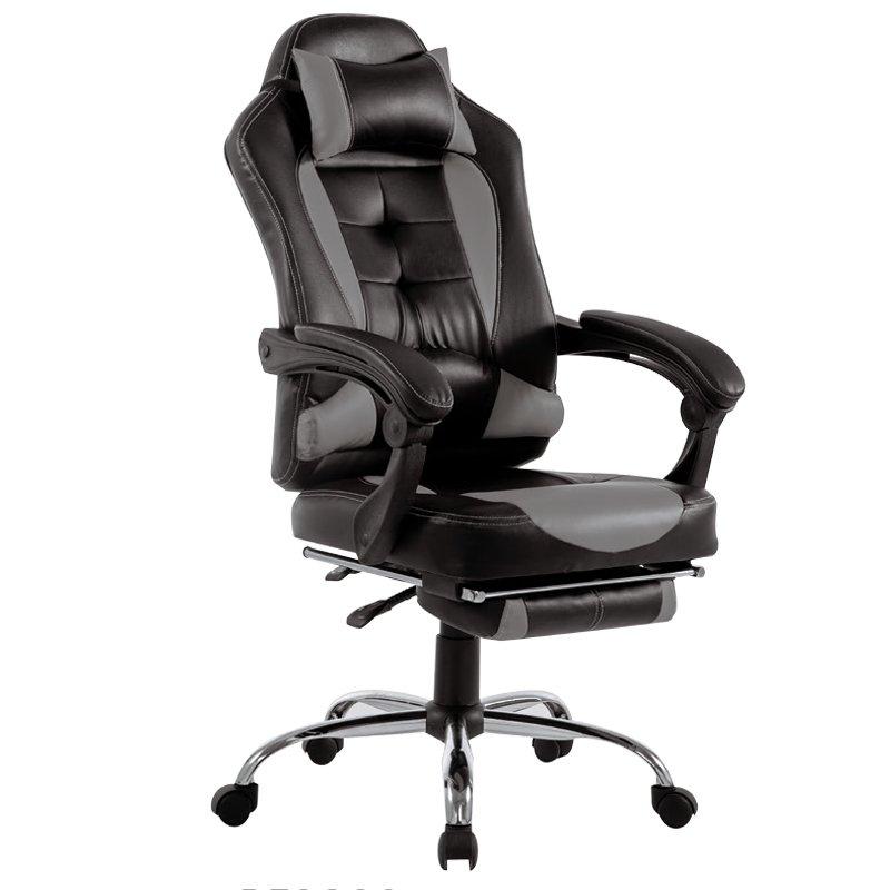 Πολυθρόνα γραφείου relax Bucket από PU σε χρώμα μαύρο-γκρι BF9800