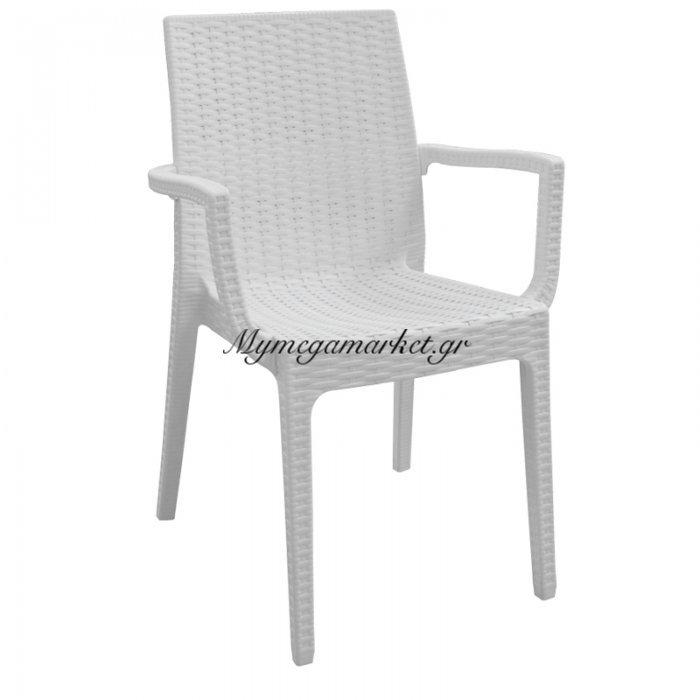 Dafne Πολυθ.πλαστική Άσπρη (Rattan Look) | Mymegamarket.gr