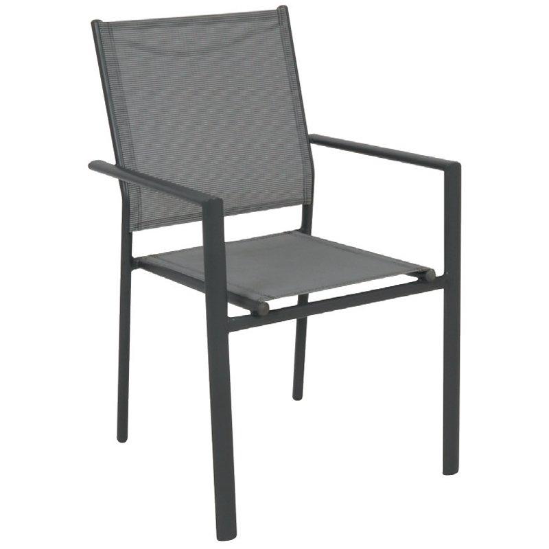 Lanson Πολυθρόνα Μεταλλική Ανθρακί/textilene Grey