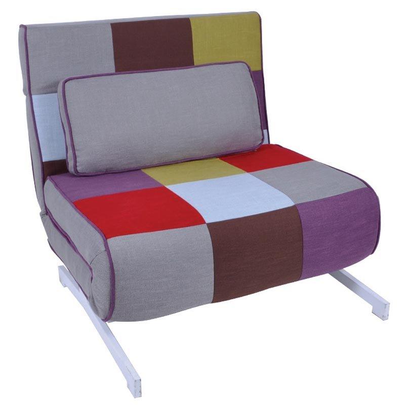Πολυθρόνα-κρεβάτι Falco με ύφασμα patchwork 90x89x88