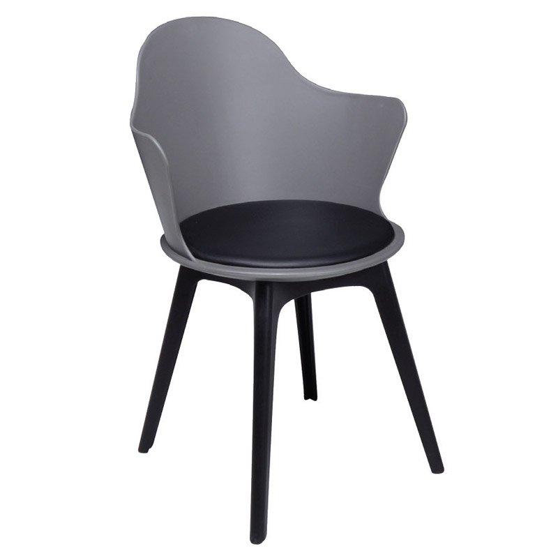 Magna Pp Πολυθρόνα Ανθρακί (Κάθισμα Pu Μαύρο)
