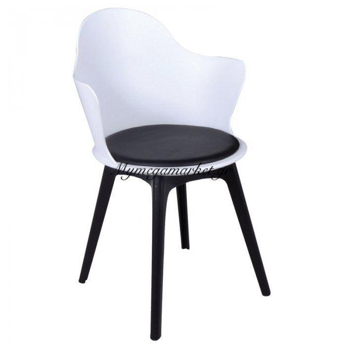 Magna Pp Πολυθρόνα Άσπρη (Κάθισμα Pu Μαύρο) | Mymegamarket.gr
