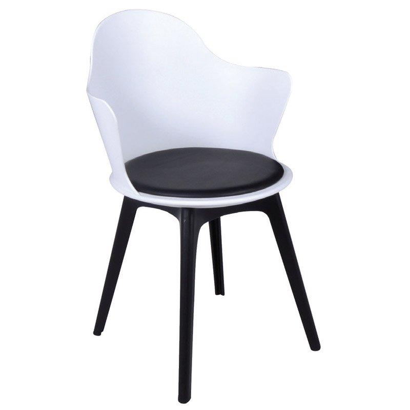 Magna Pp Πολυθρόνα Άσπρη (Κάθισμα Pu Μαύρο)