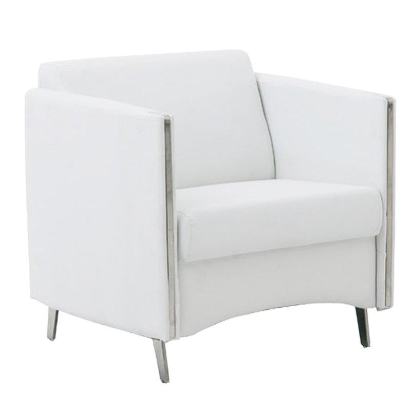 Πολυθρόνα Ontario με τεχνόδερμα PU σε χρώμα λευκό