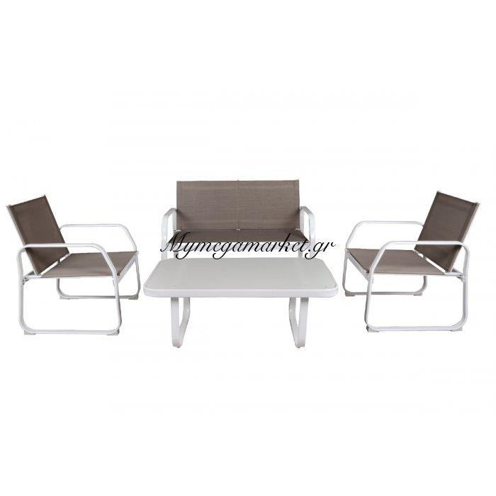 Milan Set (Τραπ+2Θέσ+2Πολ) Μεταλ.λευκό/textilene Cappuccino | Mymegamarket.gr