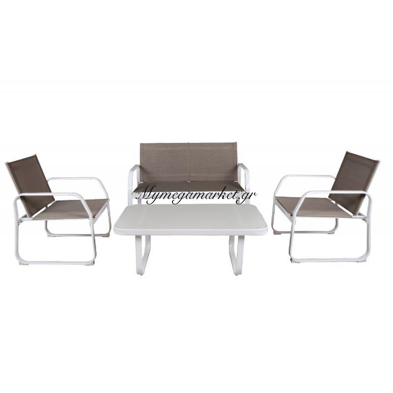 Milan Set (Τραπ+2Θέσ+2Πολ) Μεταλ.λευκό/textilene Cappuccino
