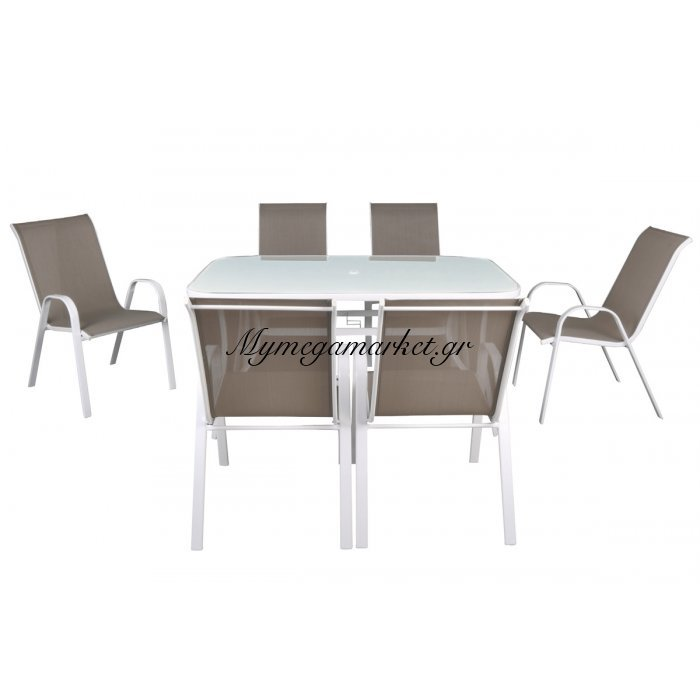 Rio Set (Τραπ.150X90Cm+6 Πολ) Μεταλ.λευκό/textilene Cappuccino/γυαλί Μπεζ | Mymegamarket.gr