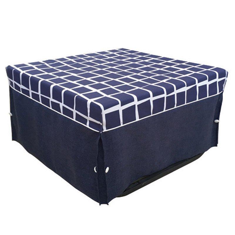 Σκαμπώ-κρεβάτι Logan υφασμάτινο χρώματος μπλέ 75x75x47